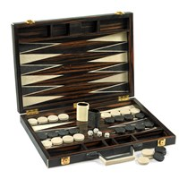 Bone Backgammon Set, Black & White