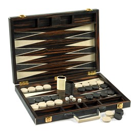 19a8bbe4f FEATURED Shagreen Backgammon Set, Black & White