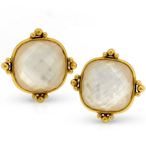 18k Yellow Gold Mother of Pearl & Crystal Doublet Twilight Earrings