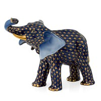 Herend Cobalt Mother Elephant with Gold Fishnet