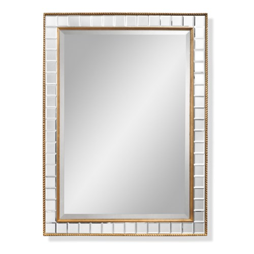 Deco Baguette Mirror, Antique Gold