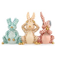 Herend Three Wise Bunnies Figurines
