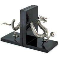 Silver Plated Dragon Bookends