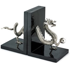 Silverplated Dragon Bookends