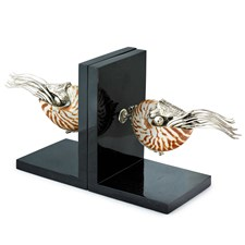 Silver Plated Nautilus Shell Mollusk Bookends