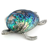 Silver Plate Sea Turtle Paperweight with Paua Shell
