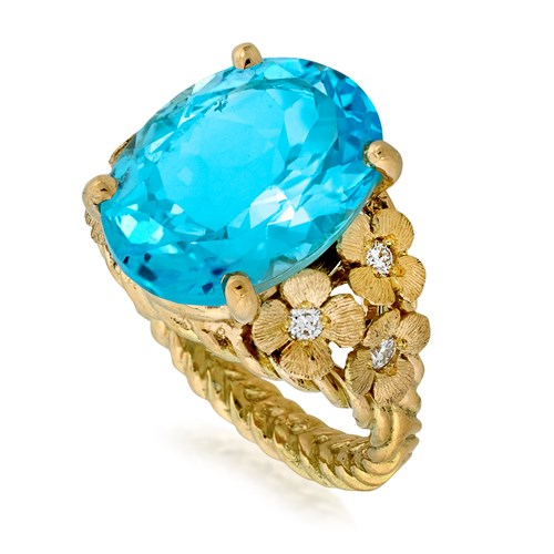 18k Yellow Gold Blue Topaz Floral Diamond Ring