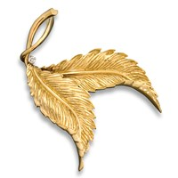 18k Gold Double Leaf Pin with Diamonds