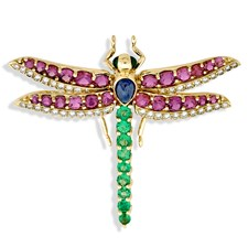 18k Yellow Gold Dragonfly Pin