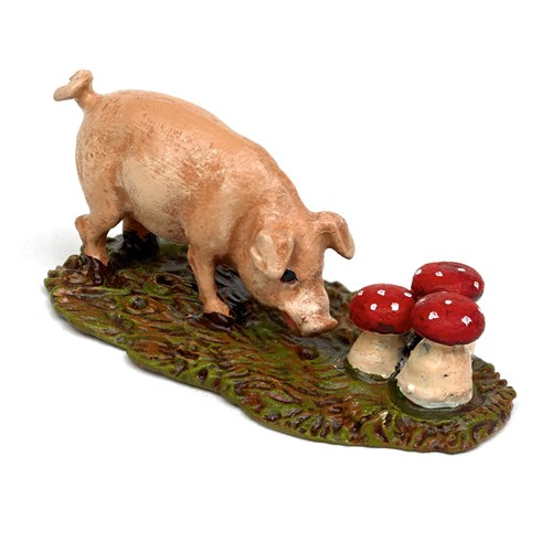 Austrian Bronze Pig Sniffing on Mushrooms Figurine