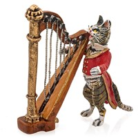 Austrian Bronze Cat Playing the Harp Figurine