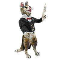 Austrian Bronze Singing Cat Figurine