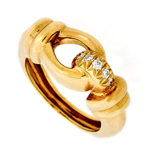 18k Buckle Ring with Diamonds