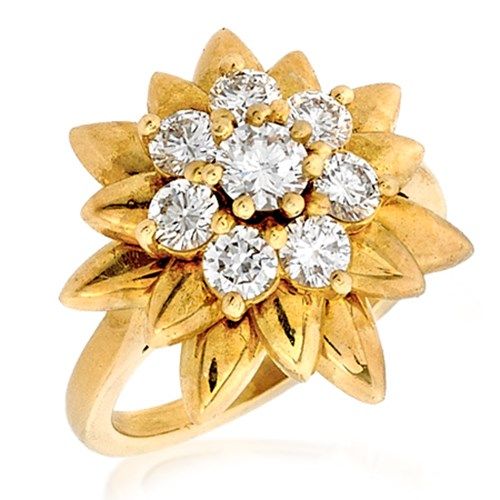 18k Yellow Gold Diamond Cluster Star Ring