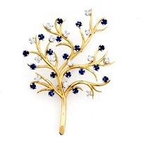 18k Yellow Gold Tree Branch Pin with Sapphires & Diamonds