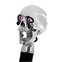 Sterling Silver Skull Ebony Walking Stick with Ruby Eyes