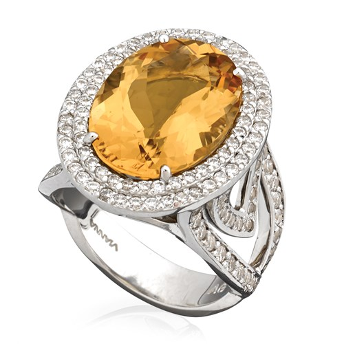 18k White Gold Double Halo Ring, Yellow Beryl & Diamonds