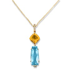 18k Yellow Gold Blue Topaz & Citrine Pendant Necklace