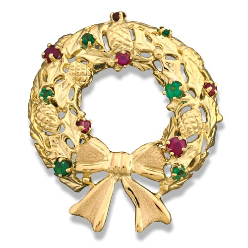 18k Gold Wreath Pin with Rubies & Emeralds
