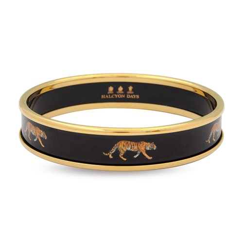 Halcyon Days Tiger Push On Bangles, Black