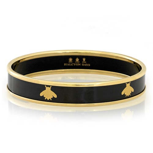 Halcyon Days Gold Bee on Black Bangles