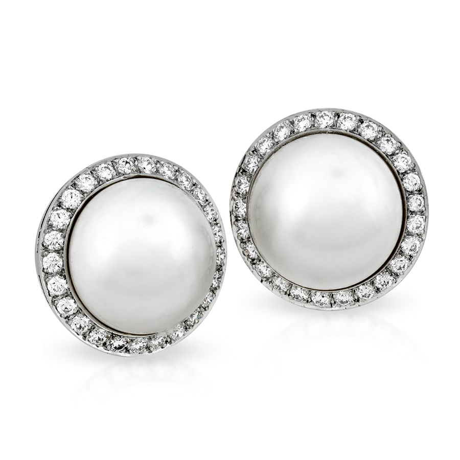 Platinum Mabe Pearl Diamond Earrings Hover To Zoom