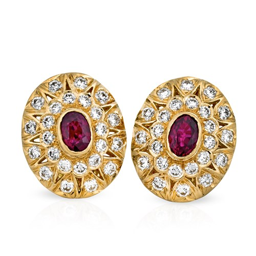 18k Gold, Ruby & Diamond Stack Earrings