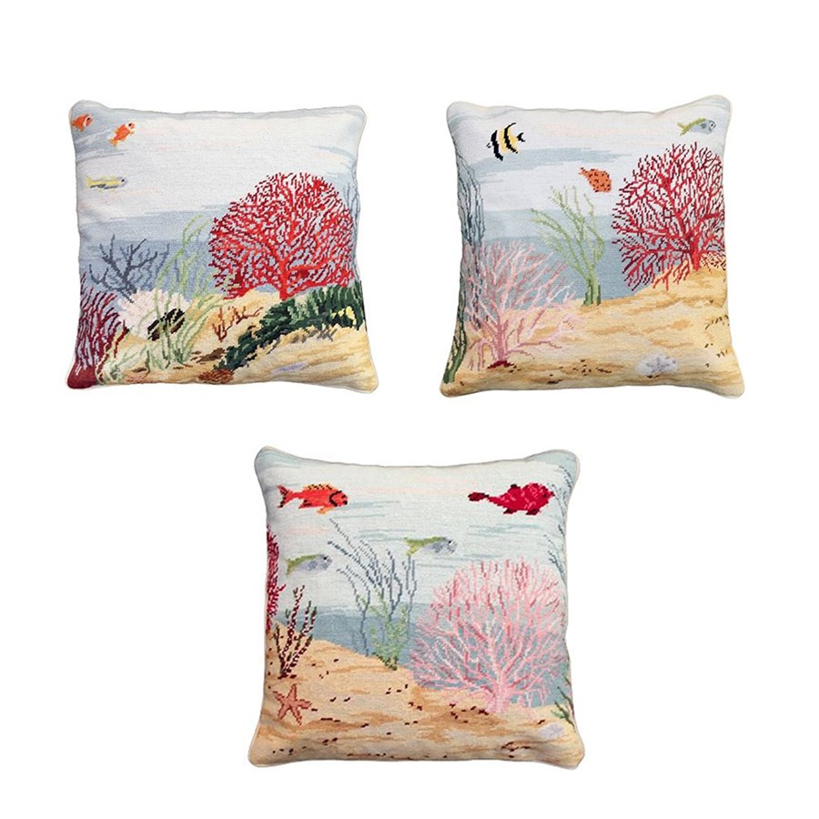 Coral reef home decor coral reef needlepoint pillows for Coral decorations for home