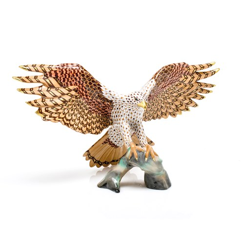Herend Reserve Collection Landing Hawk Figurine