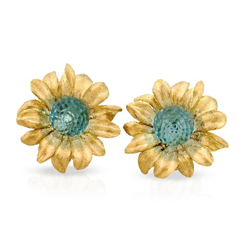 18k Gold & Blue Topaz Daisy Earrings