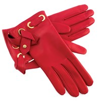 Women's Red Leather Gloves with Straps