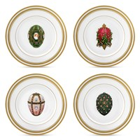 Dessert Plates with Faberge Eggs, Set of 6