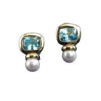 18k Gold Blue Topaz & Freshwater Pearl Earrings