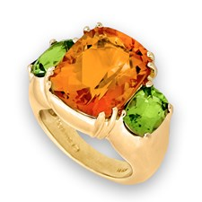 Madeira Gem Honey Citrine and Peridot Earrings and Ring