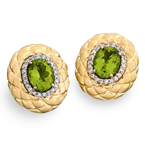 18k Gold Honeycomb Earrings with Peridots