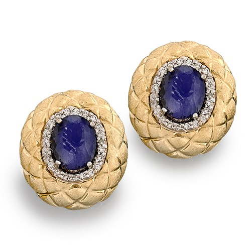 18k Gold Honeycomb Earrings with Iolites
