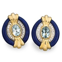 Lapis & Blue Topaz Art Deco Earrings