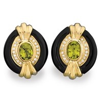 Onyx & Peridot Art Deco Earrings