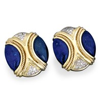 Twist Rope Earrings, Lapis & Diamond