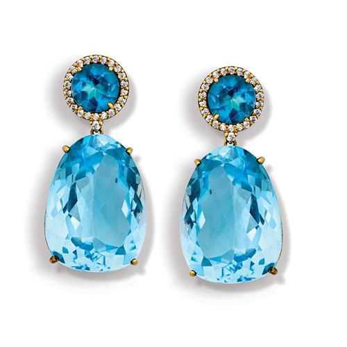 Blue Topaz Brazilian Drop Earrings