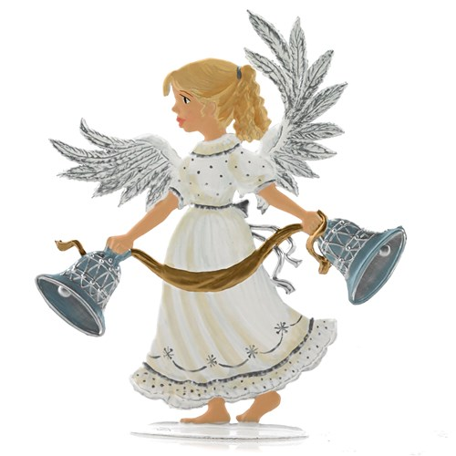 Pewter Bell Ringer Angel Figurine