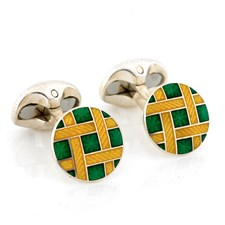 Sterling Silver Cufflinks with Enamel Weave Design