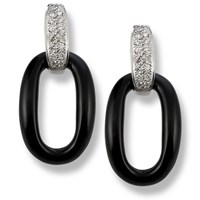 Smooth Onyx Earrings with Diamonds