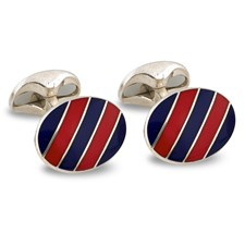Sterling Silver Multicolor Striped Cufflinks