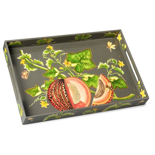 Brookshaw Melon Rectangular Lacquer Tray, Sage