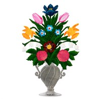 Pewter Standing Flower Bouquet Figurine