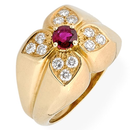 18k Yellow Gold Petal Rings with Diamonds & Stone Centers