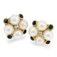 18k Statement Earrings with Sapphire, Pearls & Diamonds