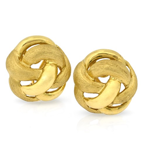 18k Yellow Gold Pretzel Knot Earrings