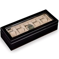 Ebony Five Watch Box with Glass Top